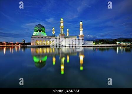 Night scene of Kota Kinabalu city Mosque, Sabah Borneo, Malaysia. - Stock Photo