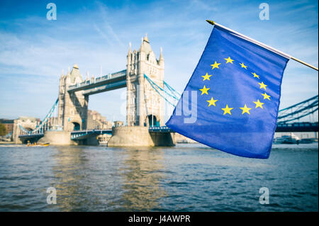 European Union flag flying in front of Tower Bridge, London, in a statement of solidarity in the United Kingdom's - Stock Photo