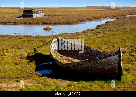 The coastline and saltmarshes at Burnham Deepdale on the North Norfolk coast in England UK - Stock Photo
