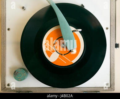 Old - fashioned record player from top view close up shot. - Stock Photo