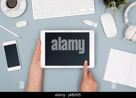 Tablet oofice desk web design template - Stock Photo