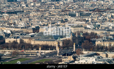 Aerial view of the Grand Palais and Alexandre iii bridge in Paris - Stock Photo