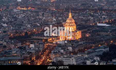 Aerial view of the Hotel des Invalides in Paris at night with artificial light - Stock Photo