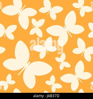 Seamless orange and yellow pattern with butterflies. Vector illustration - Stock Photo