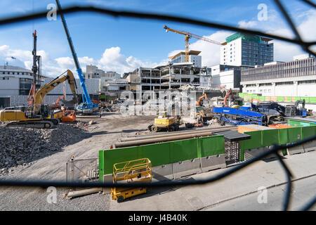 Demolition work in progress in Tapiola, Espoo, Finland, Europe, EU - Stock Photo