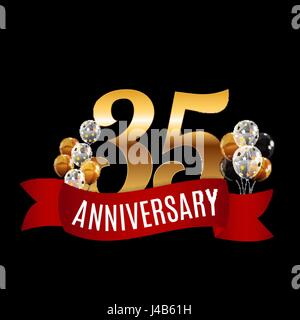 Golden 35 Years Anniversary Template with Red Ribbon Vector Illu - Stock Photo
