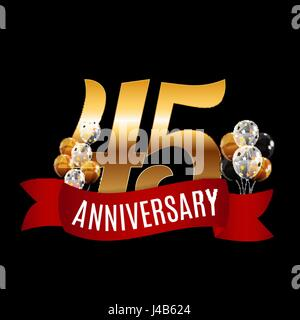 Golden 45 Years Anniversary Template with Red Ribbon Vector Illu - Stock Photo
