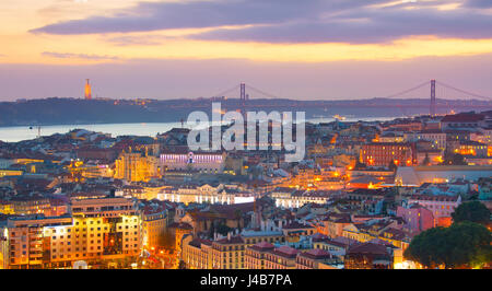 Panoramic view of beautiful Lisbon at twilight. Portugal - Stock Photo