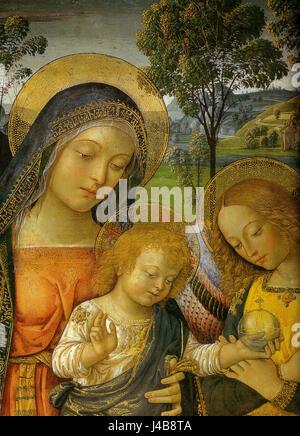 Pinturicchio, madonna della pace, 1490 circa. 143x70 cm, sanseverino marche, pinacoteca civica, dettaglio - Stock Photo