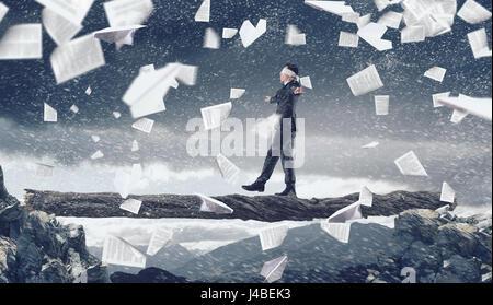 Overcome fear of failure . Mixed media - Stock Photo