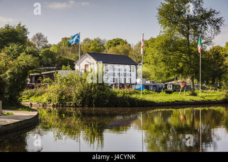 Chirk Marina with narrowboats moored up a boat  hire repair fuelling and maintenance centre on the Llangollen canal - Stock Photo