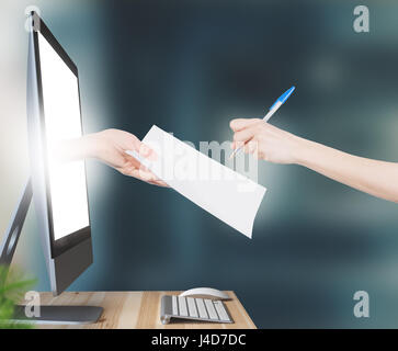 Hand with contract comes out of computer, signature - Stock Photo
