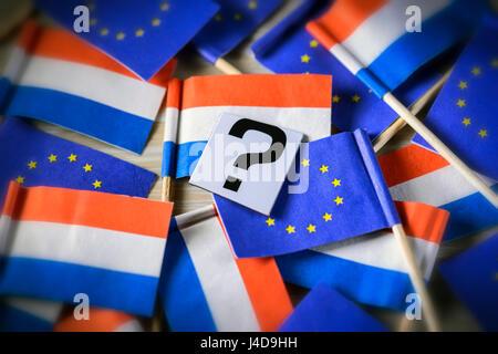 Flags of the Netherlands and the EU, parliamentary election in the Netherlands, Fahnen von den Niederlanden und - Stock Photo