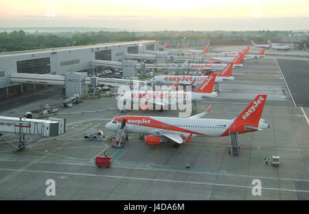easyjet aircraft at gatwick airport, london, england - Stock Photo