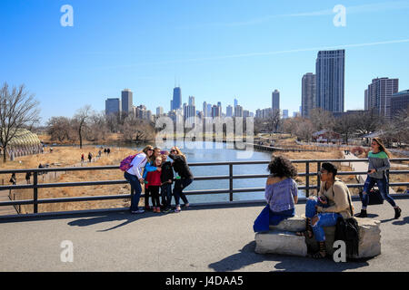 Street scene at Lincoln Park Zoo in front of Skyline Chicago, Chicago, Illinois, USA, North America, Stra§enszene - Stock Photo