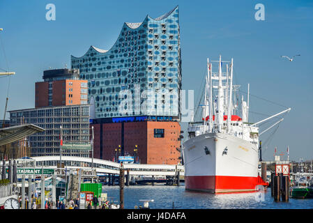 Hamburg harbour with the Elbphilharmonie and the museum ship Cap San Diego in Germany, Europe, Hamburger Hafen mit - Stock Photo
