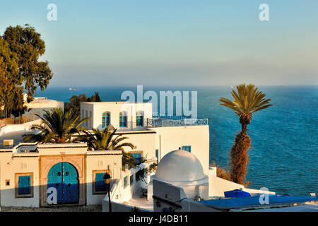 Sunset view of Sidi Bou Said, Africa, North Africa, Tunisia, Sidi Bou Said - Stock Photo