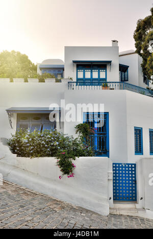 Sunset view of Sidi Bou Said villa, Africa, North Africa, Tunisia, Sidi Bou Said - Stock Photo