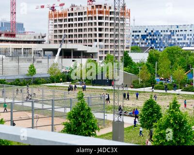 Urban growth around the Parc Martin Luther King in the Clichy-Batignolles eco district. Paris, France