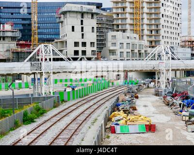 Urban growth around the Parc Martin Luther King in the Clichy-Batignolles eco district. Paris, France - Stock Photo
