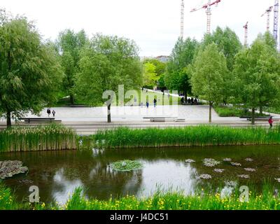 Parc Martin Luther King, the center of the new Clichy-Batignolles Eco District, 17th Arrondissement, Paris, France