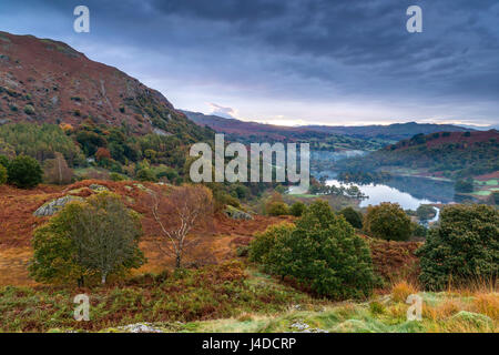 A view over Rydal Water from White Moss Common, Lake District National Park, Cumbria, England, United Kingdom, Europe. - Stock Photo