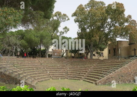 Remainder of the theater in a capital of Lipari island Aeolian islands Italy. Dates to Greek period. Located on - Stock Photo