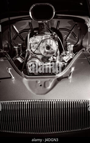 The mustle engine in a 1930's Willys classic car. - Stock Photo