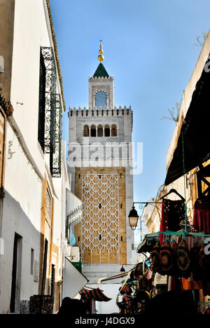 Mosque mosque Jamaa Ez Zitouna in the Medina of the city of Tunis, in Tunisia, Africa - Stock Photo