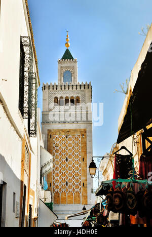 Mosque mosque Jamaa Ez Zitouna in the Medina of the city of Tunis, in Tunisia, Africa - Stock Photo