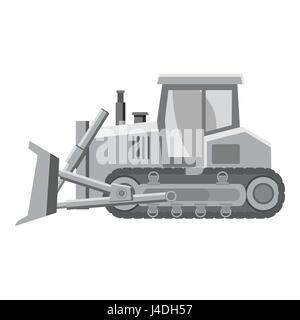Bulldozer icon, gray monochrome style - Stock Photo