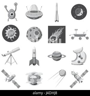 Space icons set, gray monochrome style - Stock Photo