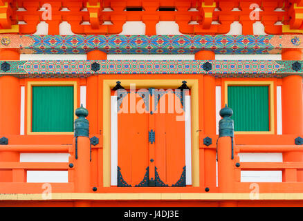 Close up details of Japanese architecture on door and windows at a building in Shinto temple, Kyoto, Japan - Stock Photo