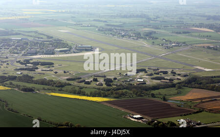 aerial view of a Tornado Jet Fighter on the runway about to take-off at RAF Leeming, North Yorkshire, UK - Stock Photo