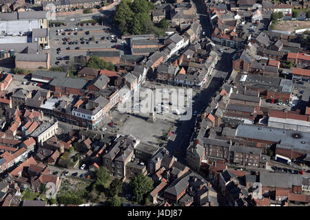 aerial view of Ripon market square & city centre, Yorkshire, UK