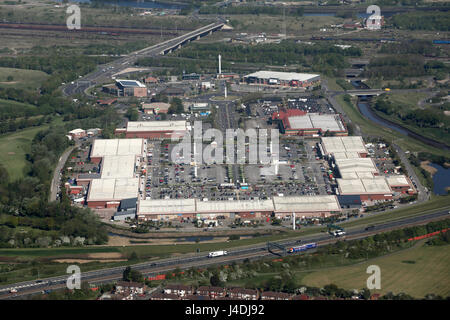 aerial view of Teesside Shopping Park, Stockton on Tees, UK - Stock Photo