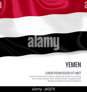 Silky flag of Yemen waving on an isolated white background with the white text area for your advert message. 3D - Stock Photo