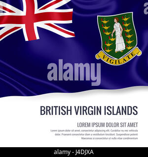 Silky flag of British Virgin Islands waving on an isolated white background with the white text area for your advert - Stock Photo