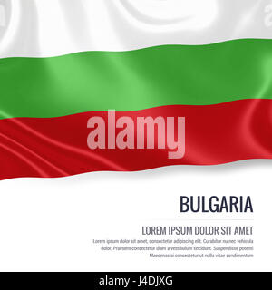 Silky flag of Bulgaria waving on an isolated white background with the white text area for your advert message. - Stock Photo