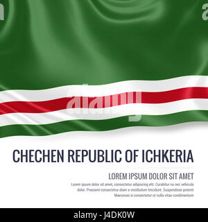 Silky flag of Chechen Republic of Ichkeria waving on an isolated white background with the white text area for your - Stock Photo
