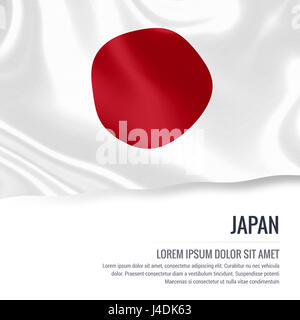 Silky flag of Japan waving on an isolated white background with the white text area for your advert message. 3D - Stock Photo
