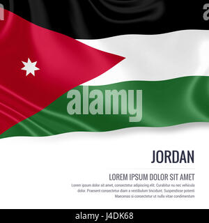 Silky flag of Jordan waving on an isolated white background with the white text area for your advert message. 3D - Stock Photo