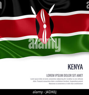 Silky flag of Kenya waving on an isolated white background with the white text area for your advert message. 3D - Stock Photo