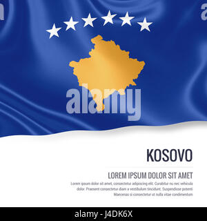 Silky flag of Kosovo waving on an isolated white background with the white text area for your advert message. 3D - Stock Photo
