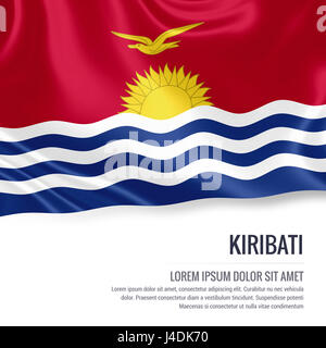Silky flag of Kiribati waving on an isolated white background with the white text area for your advert message. - Stock Photo