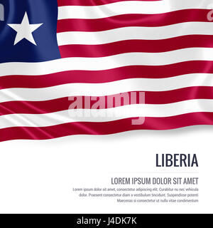 Silky flag of Liberia waving on an isolated white background with the white text area for your advert message. 3D - Stock Photo