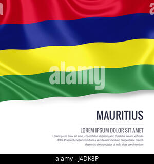 Silky flag of Mauritius waving on an isolated white background with the white text area for your advert message. - Stock Photo