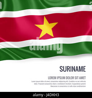 Silky flag of Suriname waving on an isolated white background with the white text area for your advert message. - Stock Photo