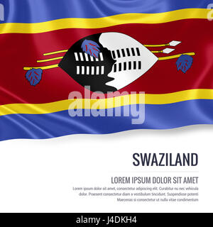 Silky flag of Swaziland waving on an isolated white background with the white text area for your advert message. - Stock Photo
