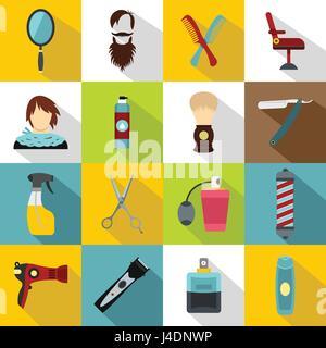 Hairdressing icons set, flat style - Stock Photo